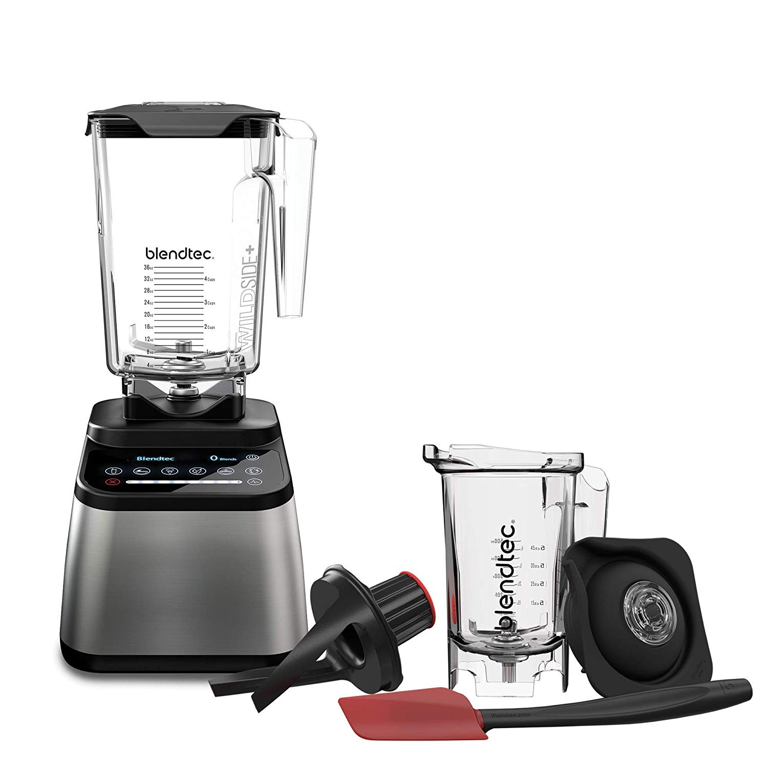 Blendtec Designer 725 WildSide (90 oz) and Twister Jar (37 oz) Bundle Countertop Blender 100-Speeds Sleek and Slim Stainless Black