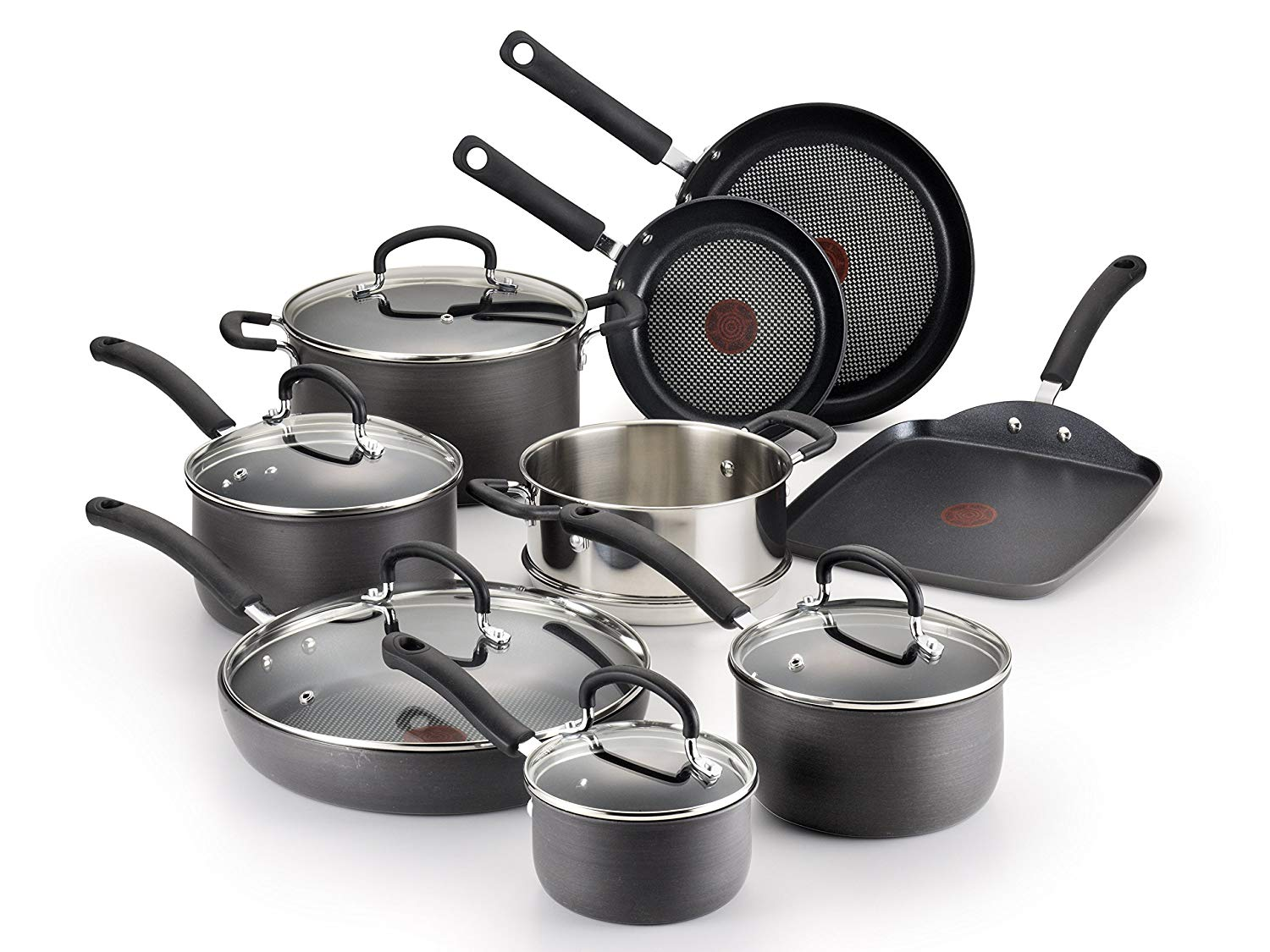 T-fal Hard Anodized Cookware Set, Nonstick Pots and Pans Set, 14 Piece, Thermo-Spot Heat Indicator
