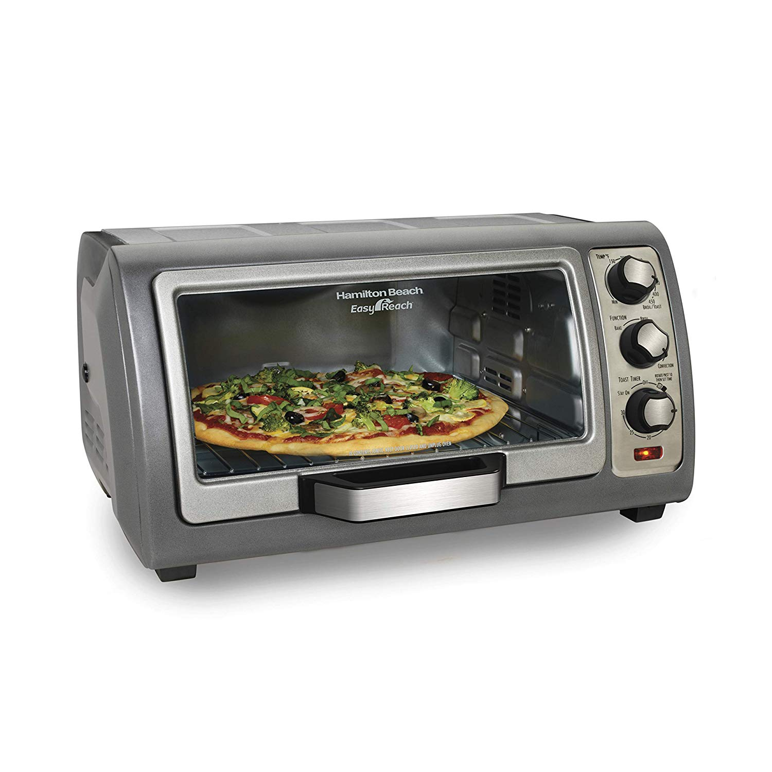 Hamilton Beach Countertop Toaster Oven, Easy Reach with Roll-Top Door, 6-Slice, Convection (31123D)