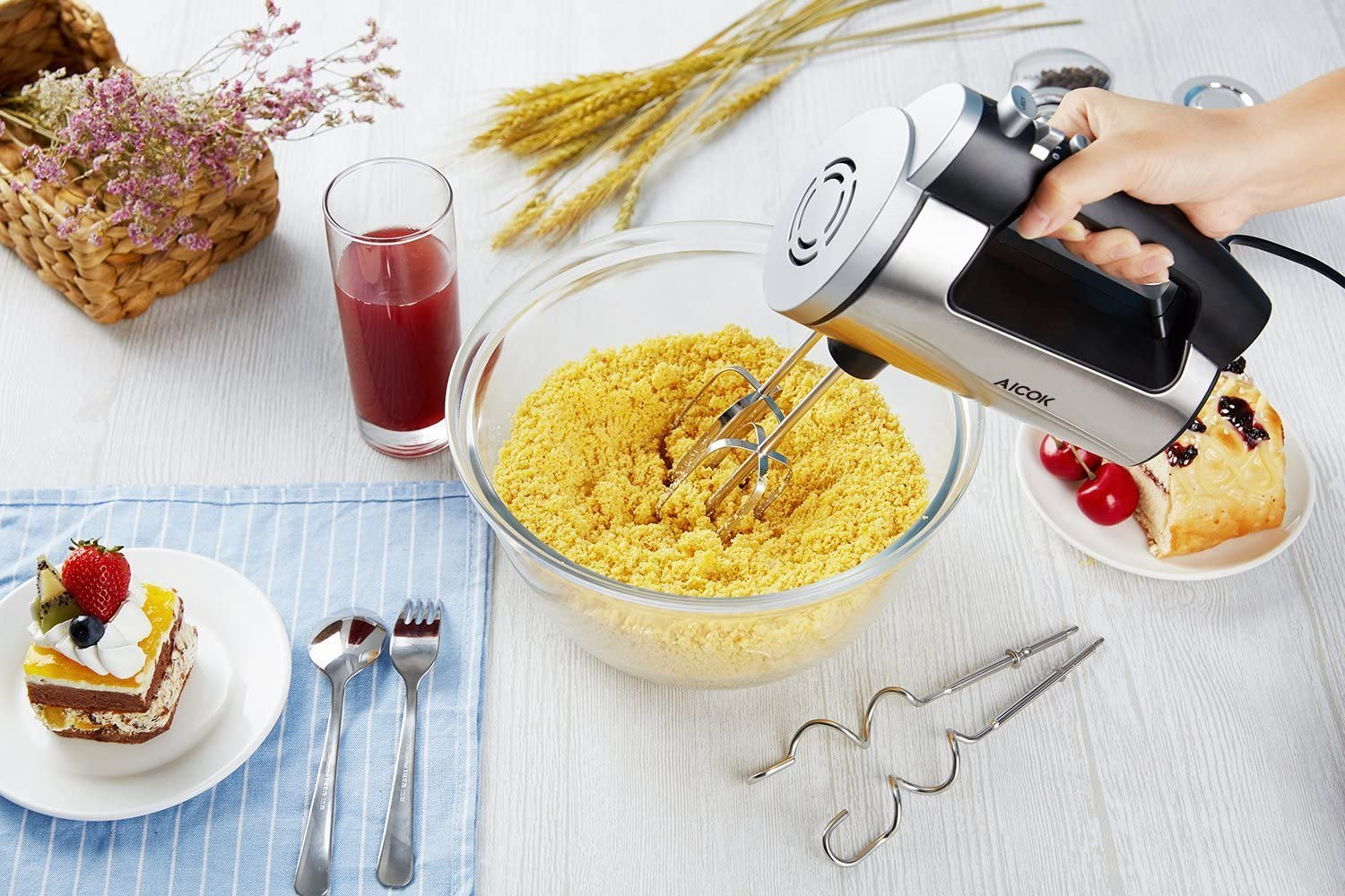 Aicok Hand Mixer 6 Speed Classic Stainless Steel Mixer view
