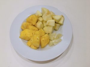 Pineapple, apple and lemon chop into small pieces