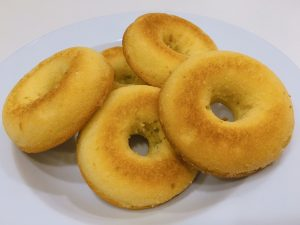 Lemon Pound Cake Donuts in dish