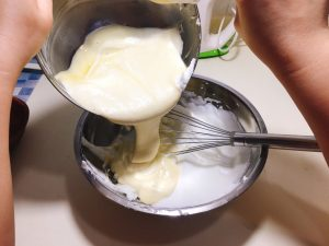 Fold the batter mixture into the rest of the egg white
