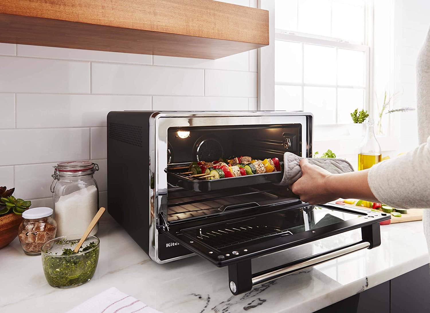 KitchenAid KCO255BM Dual Convection Countertop Toaster Oven in kitchen