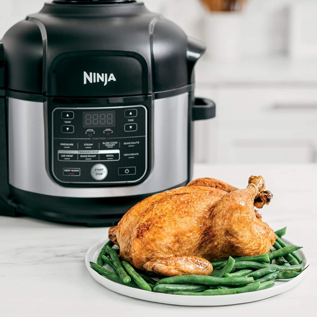 Ninja OS301 Foodi 10-in-1 Pressure Cooker with chicken
