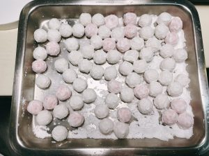 coat the tangyuan with potato starch