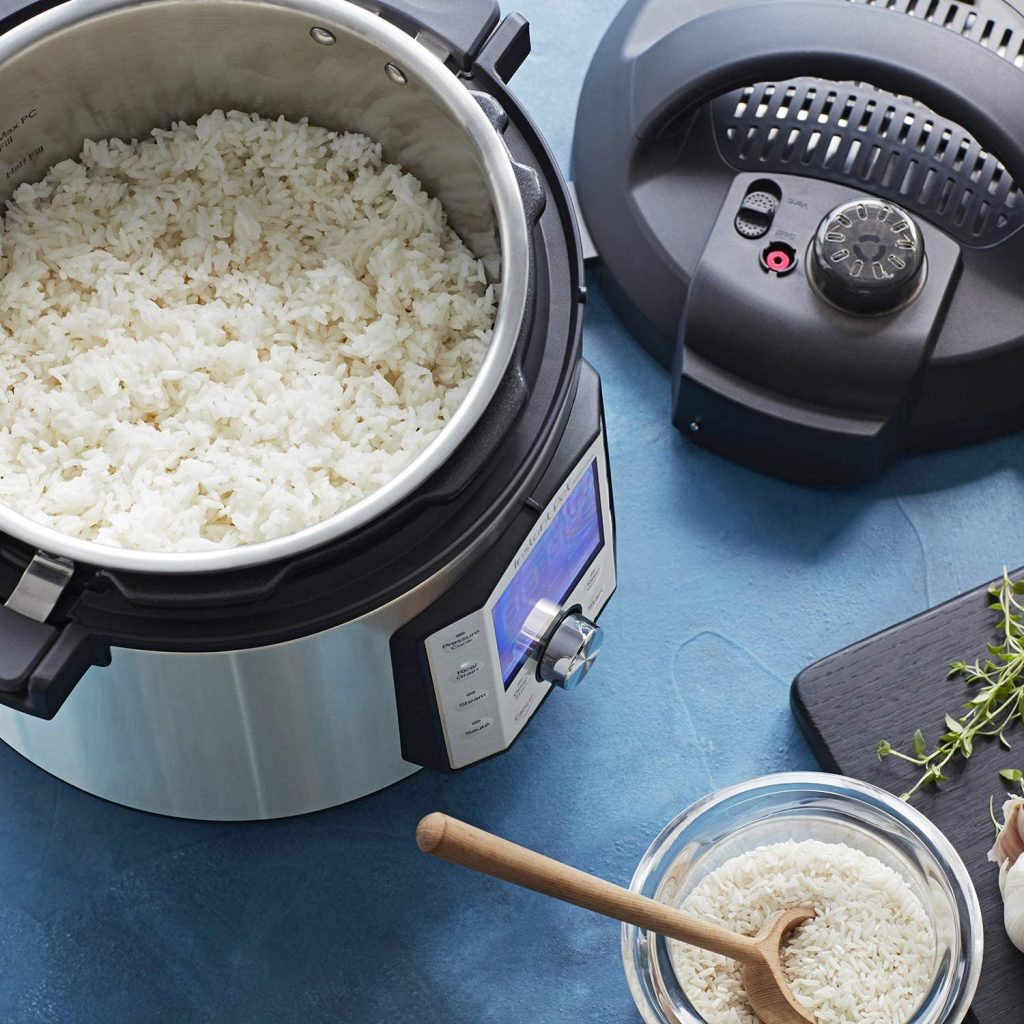 Instant Pot Duo Evo Plus Pressure Cooker with rice