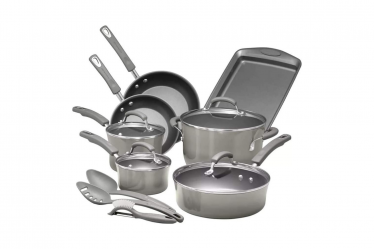 Rachael Ray Brights Nonstick Cookware Pots and Pans Set Gray