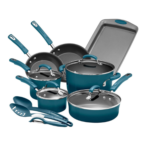 Rachael Ray Brights Nonstick Cookware Pots and Pans Set Green