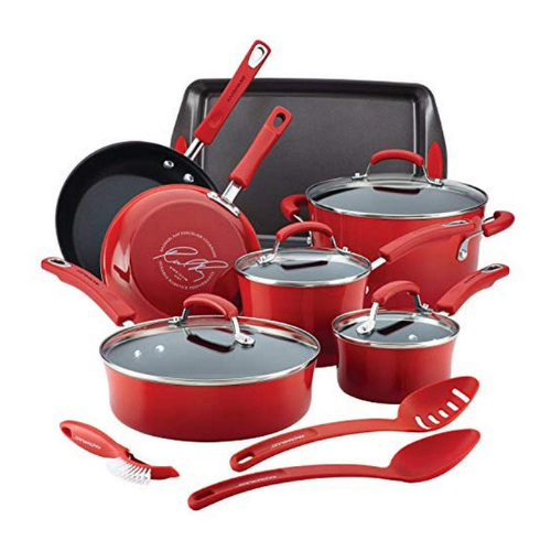 Rachael Ray Brights Nonstick Cookware Pots and Pans Set Red