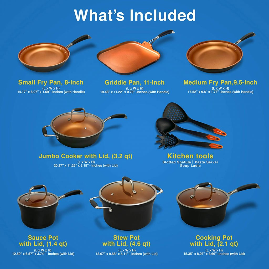 NutriChef Stackable Pots and Pans Set Include