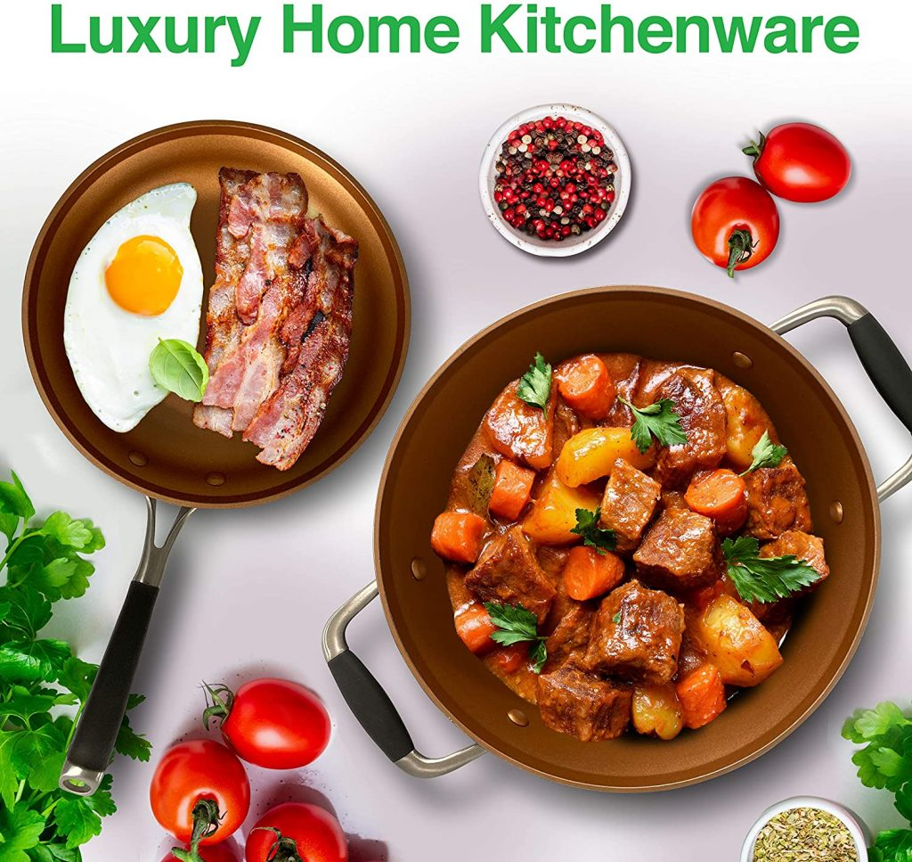 NutriChef Stackable Pots and Pans Set Luxury Home Kitchenware