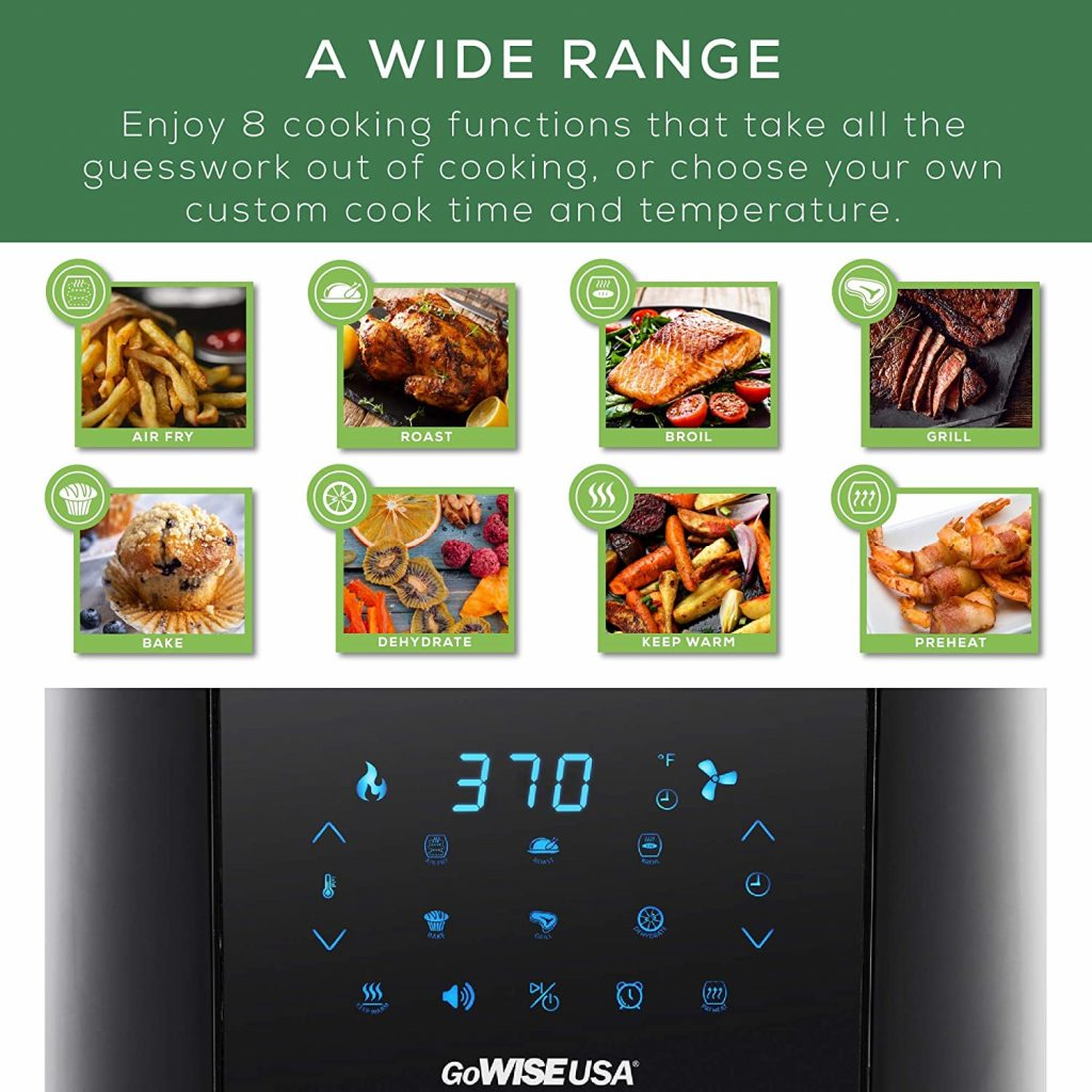 GoWISE USA 7-Quart Air Fryer & Dehydrator Cooking Functions