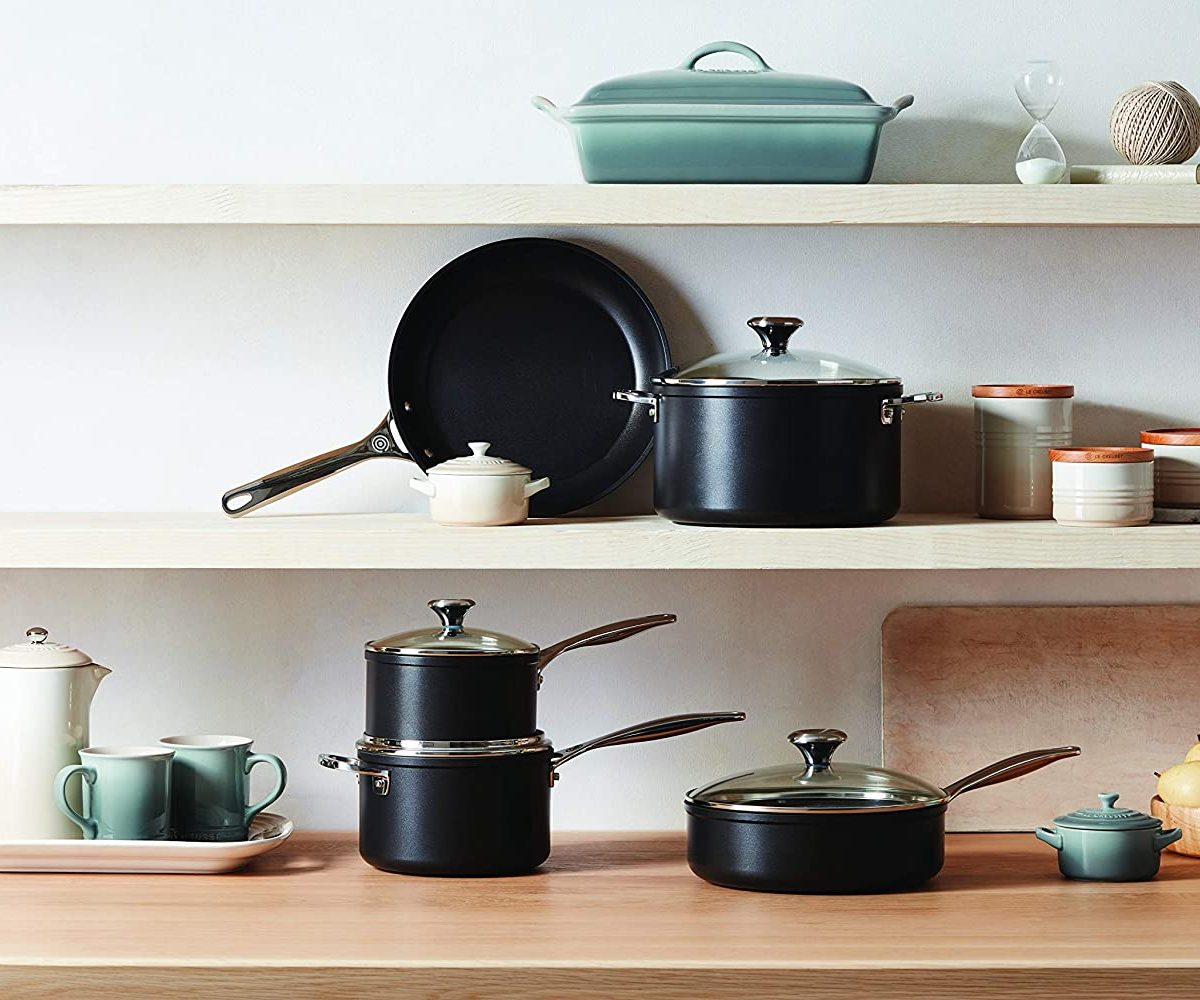Le Creuset Cookware Set In Kitchen
